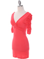 9764 Coral Jersey Party Dress - Coral, Alt View Thumbnail