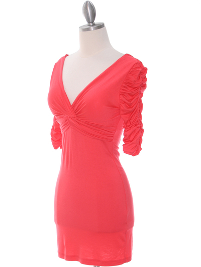 9764 Coral Jersey Party Dress - Coral, Alt View Medium