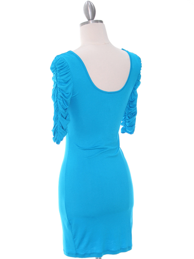 9764 Turquoise Jersey Party Dress - Turquoise, Back View Medium