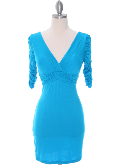 9764 Turquoise Jersey Party Dress - Turquoise, Front View Medium