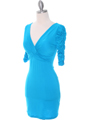 9764 Turquoise Jersey Party Dress - Turquoise, Alt View Thumbnail