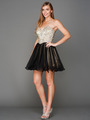A355 Strapless Sweetheart Homecoming Dress - Champagne Black, Front View Thumbnail