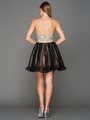 A355 Strapless Sweetheart Homecoming Dress - Champagne Black, Back View Thumbnail