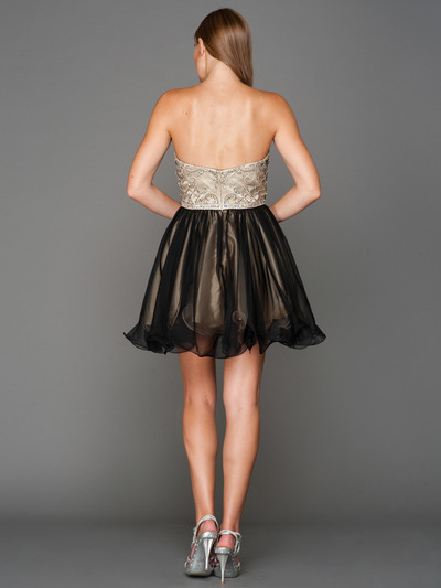 A355 Strapless Sweetheart Homecoming Dress - Champagne Black, Back View Medium
