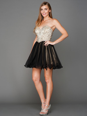 A355 Strapless Sweetheart Homecoming Dress, Champagne Black