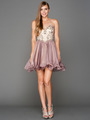 A355 Strapless Sweetheart Homecoming Dress - Champagne Lavendar, Front View Thumbnail