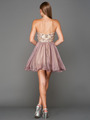 A355 Strapless Sweetheart Homecoming Dress - Champagne Lavendar, Back View Thumbnail