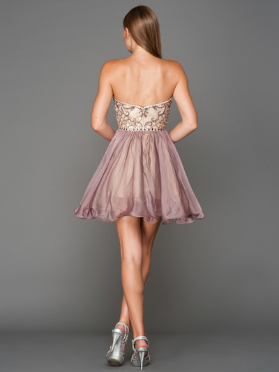 A355 Strapless Sweetheart Homecoming Dress - Champagne Lavendar, Back View Medium