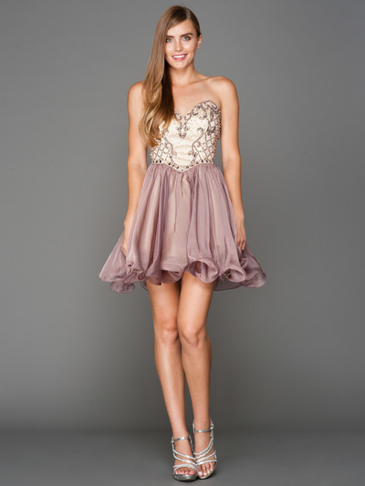 A355 Strapless Sweetheart Homecoming Dress - Champagne Lavendar, Front View Medium