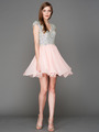 A356 Cap Sleeves V Neck Jewel Top Homecoming Dress - Blush, Front View Thumbnail