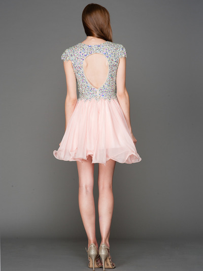 A356 Cap Sleeves V Neck Jewel Top Homecoming Dress - Blush, Back View Medium