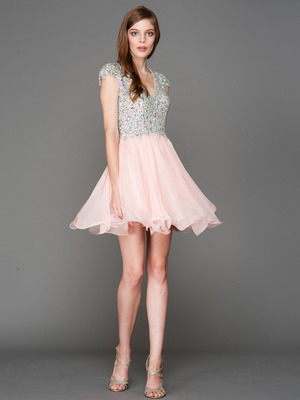 A356 Cap Sleeves V Neck Jewel Top Homecoming Dress, Blush