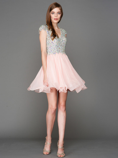 A356 Cap Sleeves V Neck Jewel Top Homecoming Dress - Blush, Front View Medium