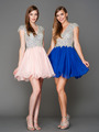 A356 Cap Sleeves V Neck Jewel Top Homecoming Dress - Blush, Alt View Thumbnail