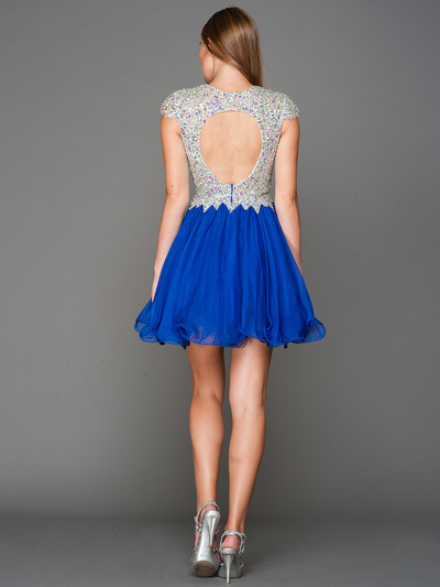 A356 Cap Sleeves V Neck Jewel Top Homecoming Dress - Royal Blue, Back View Medium
