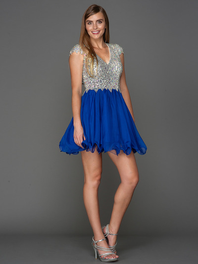 A356 Cap Sleeves V Neck Jewel Top Homecoming Dress - Royal Blue, Front View Medium
