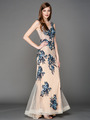 A636 Embroidery Sheer Evening Dress  - Blue, Front View Thumbnail