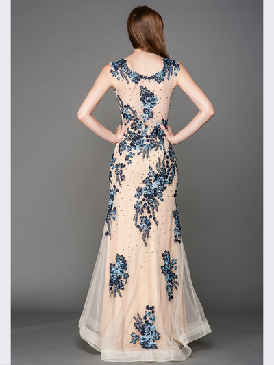 A636 Embroidery Sheer Evening Dress  - Blue, Back View Medium