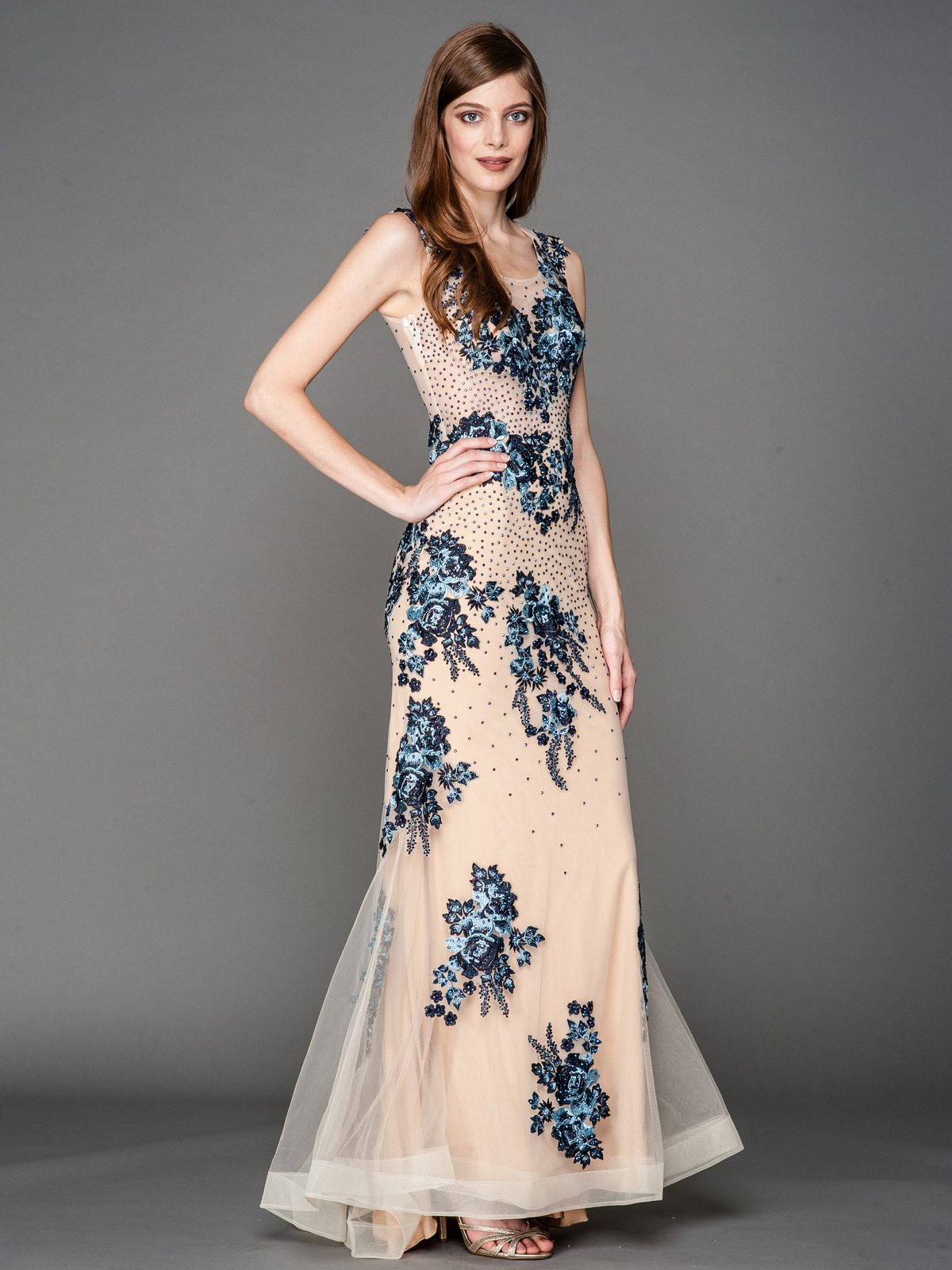 Embroidery Sheer Evening Dress   Sung Boutique L.A.