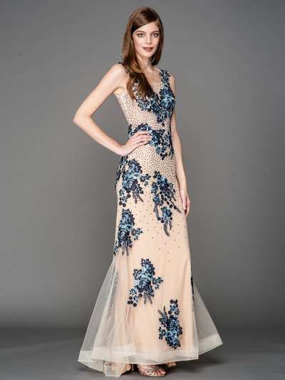 A636 Embroidery Sheer Evening Dress  - Blue, Front View Medium