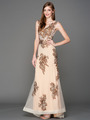A636 Embroidery Sheer Evening Dress  - Brown, Front View Thumbnail