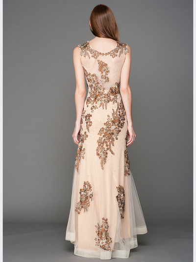 A636 Embroidery Sheer Evening Dress  - Brown, Back View Medium
