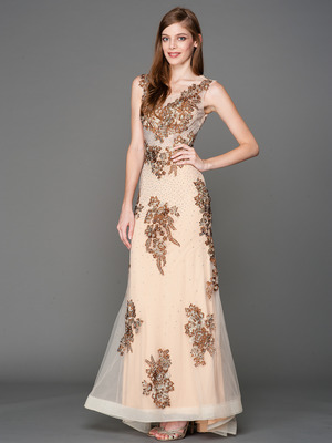 A636 Embroidery Sheer Evening Dress , Brown