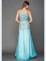 A637 V Neck Embellished Evening Dress - Aqua, Back View Thumbnail