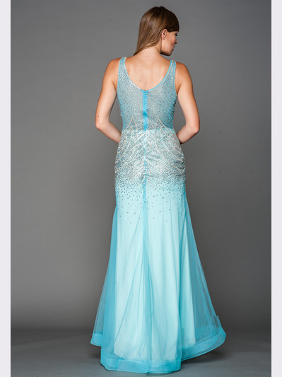 A637 V Neck Embellished Evening Dress - Aqua, Back View Medium
