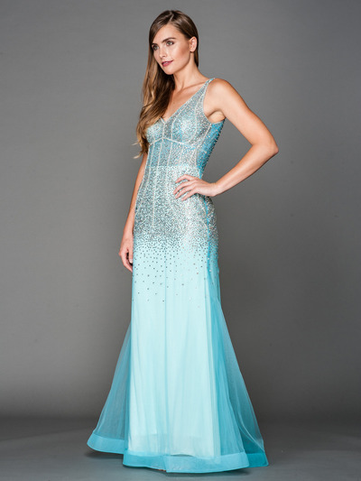 A637 V Neck Embellished Evening Dress - Aqua, Front View Medium