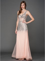 A637 V Neck Embellished Evening Dress - Blush, Front View Thumbnail