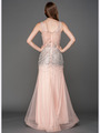 A637 V Neck Embellished Evening Dress - Blush, Back View Thumbnail