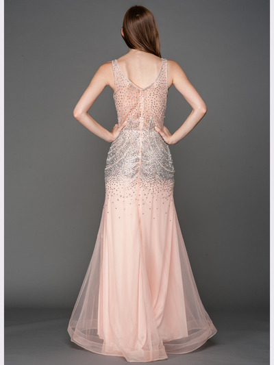 A637 V Neck Embellished Evening Dress - Blush, Back View Medium