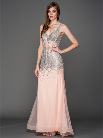 A637 V Neck Embellished Evening Dress - Blush, Front View Medium
