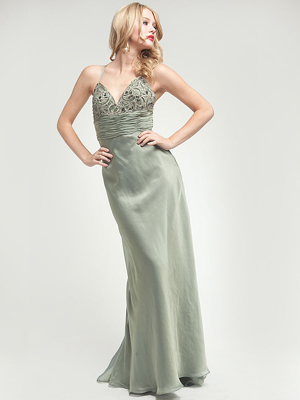 AC202 Khaki Green Chiffon Prom Dress, Khaki Green