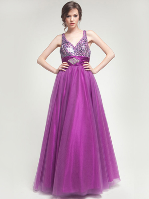 AC204 Sequin Bodice Prom Gown, Purple