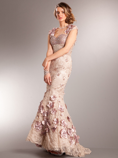 AC225 Vintage Lace Mermaid Evening Dress - Dusty Rose, Front View Medium