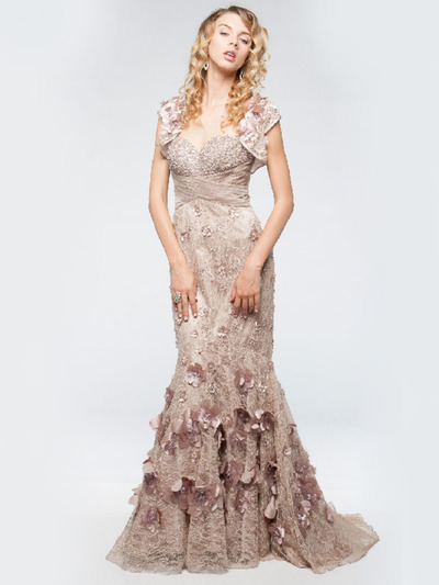AC225 Vintage Lace Mermaid Evening Dress - Dusty Rose, Alt View Medium