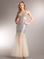 AC227 Sparkling Chic Evening Dress - Aqua, Front View Thumbnail