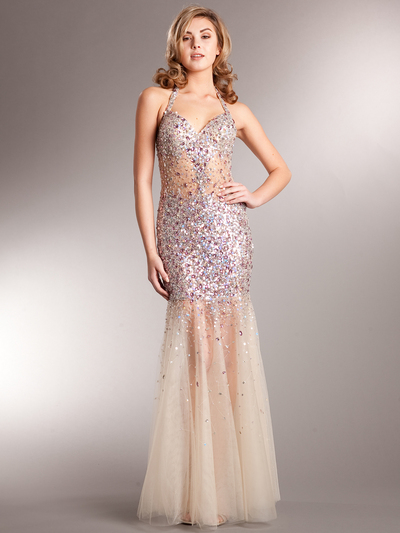 AC227 Sparkling Chic Evening Dress - Rose, Front View Medium