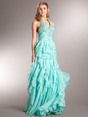 AC232 Ravishing Ruffles Prom Dress, Aqua