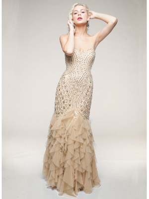 AC234 Sculptured and Streamlined Mermaid Evening Gown, Champagne