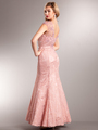 AC235 Perfectly Polished Mermaid Evening Gown - Dusty Rose, Back View Thumbnail