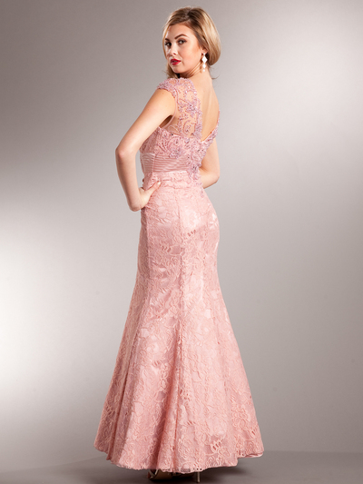 AC235 Perfectly Polished Mermaid Evening Gown - Dusty Rose, Back View Medium