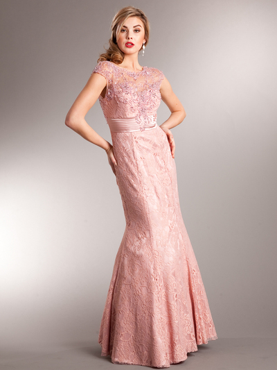 AC235 Perfectly Polished Mermaid Evening Gown - Dusty Rose, Front View Medium