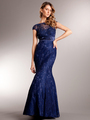AC235 Perfectly Polished Mermaid Evening Gown - Navy, Front View Thumbnail