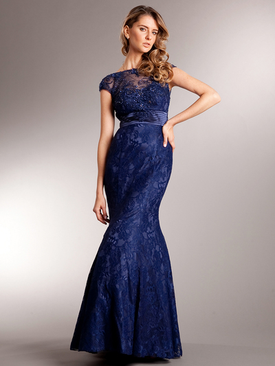 AC235 Perfectly Polished Mermaid Evening Gown - Navy, Front View Medium