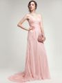AC304 Pleated Strapless Evening Dress