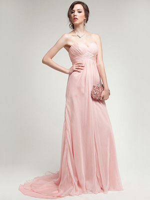 AC304 Pleated Strapless Evening Dress, Rose