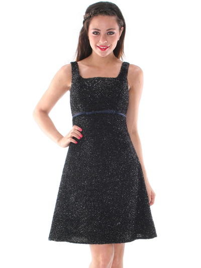AC307 Vintage Snowflake Trim Cocktail Dress - Black, Front View Medium